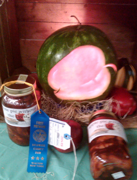 AWESOME APPLE PIE WITHOUT THE CRUST WINS A BLUE RIBBON AT THE DELAWARE COUNTY FAIR IN AUGUST 2010!